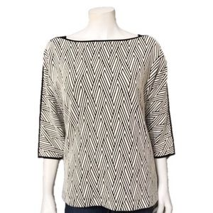 Chico's   Black & Cream Chevron Print Sweater Sz-1